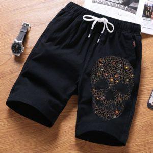 Pánské teplákové šortky se štrasem Skull - kolekce 2020