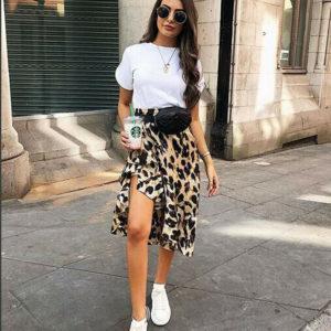 Dámská luxusní leopardí sukně