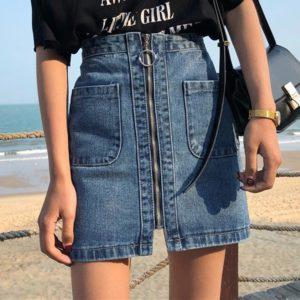Dámská nadčasová džínová sukně se zipem Fabiana