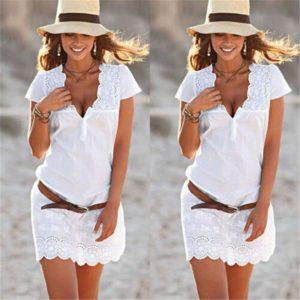 Dámské letní bílé mini šaty Lucia