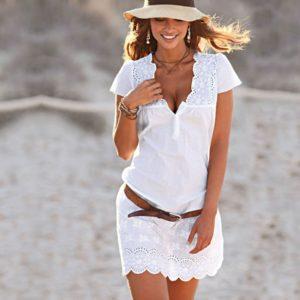 Dámské letní bílé mini šaty s krajkou Logan
