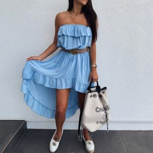 Dámské asymetrické sexy šaty s volánky Santana