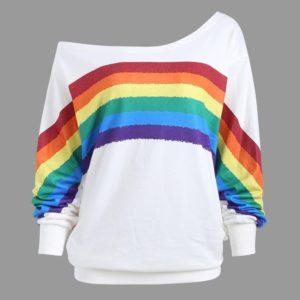 Dámská svetrová mikina se spadlým ramenem Rainbow