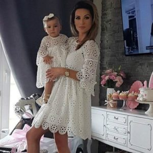 Krajkové šaty pro maminku a dceru