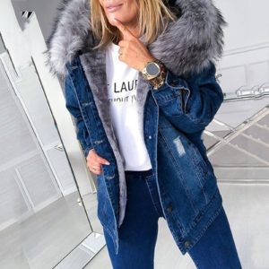 Dámská módní ležérní džínová bunda s kapucí