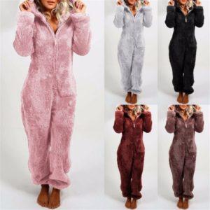 Fleece Plush Sleepwear Autumn Winter Female Long Sleeve Hoodies Nightwear Pajamas One Piece Velvet Warmer Sleepwear Jumpsuits