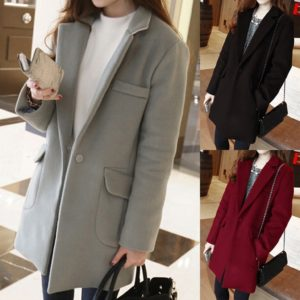 Woman Long Wool Coat Elegant Blend Coats Slim Turn-Down Neck Solid Female Long Korea Coat Outerwear Jacket manteau femme