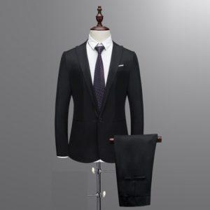 Men's Slim Button Suit Pure Color Dress Blazer Host Show Jacket Coat & Pant #4D26