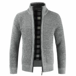 Autumn Winter New Men's Jacket Slim Fit Stand Collar Zipper Jacket Men Solid Cotton Thick Warm Jacket Men
