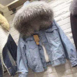 Dámská džínová bunda s kožíškem
