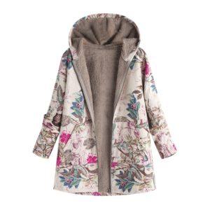 5XL Coat Winter Warm Fur Hooded Floral Print Jacket Women Vintage Long Sleeve Fluffy Coat Female Pocket Oversized Plus Size