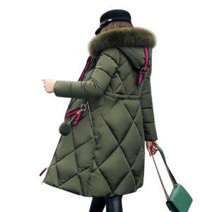 Dámska dlhá zimná bunda so vzorom a kožuchom - 5 farieb
