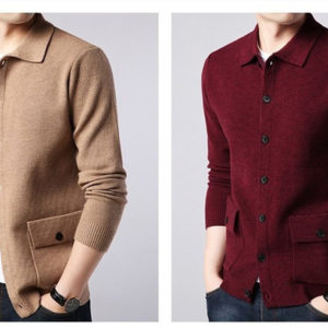 Pánský elegantní svetr s límečkem a knoflíky
