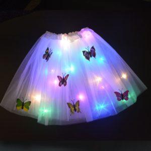 Dětská svítící sukně zdobená motýlky