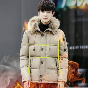 Men's Thick Fur Hooded Down Jackets Coat Male Solid Color windproof Parkas Overcoat Winter Warm Outerwear M-4XL