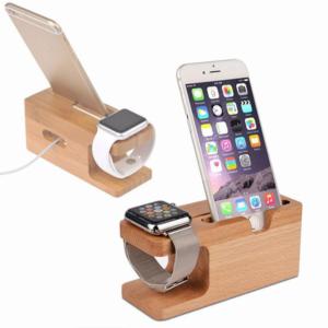 Nabíjecí stanice Wood z bambusového dřeva pro telefon i chytré hodinky