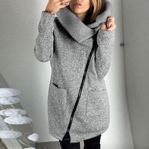 Dámský mikinový kabát s kapucí a límcem