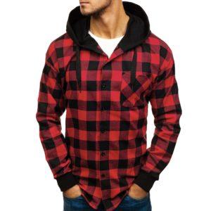 Pánská módní mikinová kostkovaná košile s kapucí