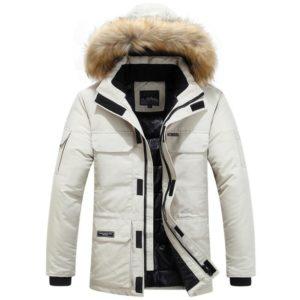 Pánská zimní bunda s kapucí a kožichem