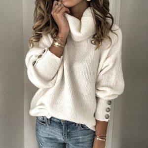 Dámský ležérní rolákový pletený svetr s dlouhým rukávem Crisoll
