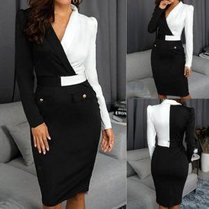 Černobílé pouzdrové šaty
