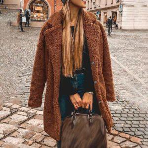 Velký teplý volný dámský kabát