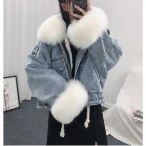 Dámská chlupatá džínová bunda