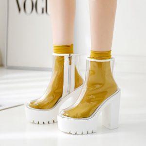 Dámské průhledné boty na vysokém podpatku