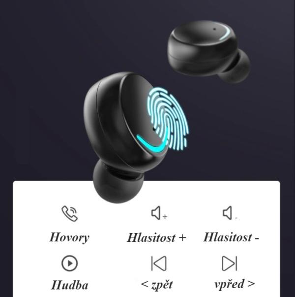 Bezdrátová dotyková bluetooth sluchátka VIP
