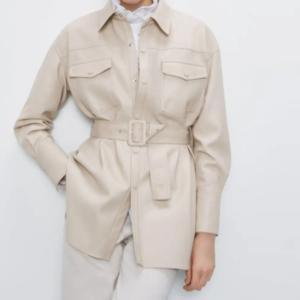 Dámská kožená bunda s opaskem Becky