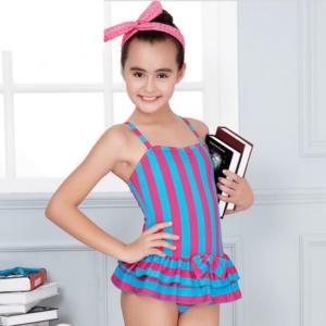 Dětské jednodílné pruhované plavky se sukní pro dospívající dívky