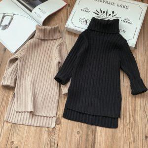 Dívčí svetrové rolákové zimní šaty