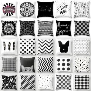Černobílé povlaky na polštář