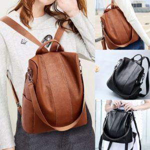 Dámský kožený batoh s poutkem na kabelku