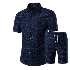 Letní pánský neformální set košile a šortek s potiskem