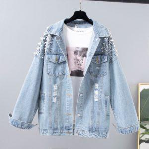 Dámská jarní Vintage džínová bunda