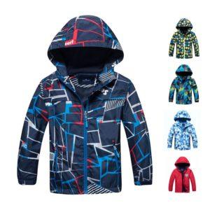 Chlapecká stylová jarní fleecová nepromokavá bunda