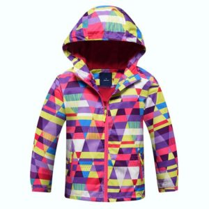 Dívčí jarní bunda s trojúhelníky