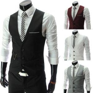 Pánská stylová formální obleková vesta zapínaná na knoflíky - více variant