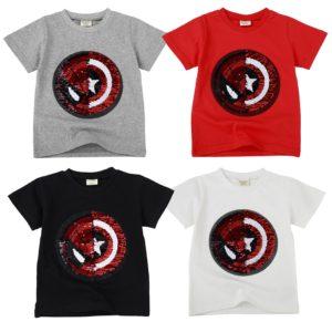 Dětské letní triko se superhrdiny pod měnícíma se flitrama