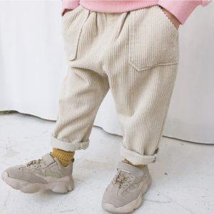 Dětské manšestrákové jarní kalhoty