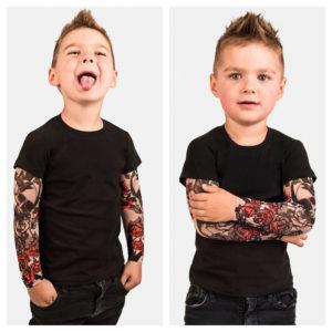 Chlapecké trendy tričko s dlouhým tattoo rukávem - černé