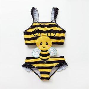 Dívčí roztomilé plavky jednodílné plavečky se včeličkou