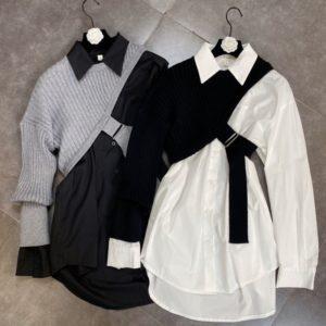 Dámské originální šaty s páskem a rukávem ze svetru