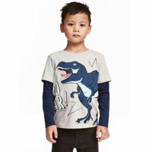 Chlapecké módní tričko s dlouhým rukávem a potiskem T-Rex