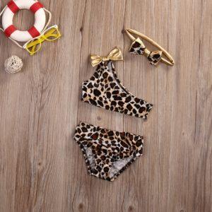 Dětské dívčí dvoudílné plavky s leopardím vzorem s čelenkou