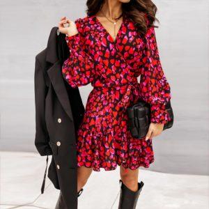 Jarní elegantní šaty s dlouhým rukávem