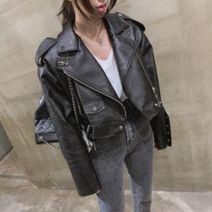 Dámská retro kožená bunda