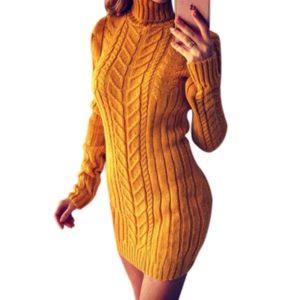 Dámské jarní rolákové pletené šaty