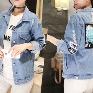 Dámská jarní džínová bunda v potrhaném provedení s potiskem
